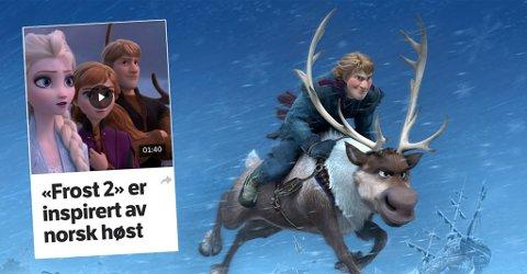 """Filmen """"Frozen 2"""" er inspirert av samisk kultur og av reindriften. En samisk ekspertgruppe har samarbeidet tett med Disney-konsernet i utforminga av karakterer som Kristoff og reinsdyret Sven (bildet). Men i NRKs dekning av arbeide med filmen er det """"norsk høst"""" som gjelder og det samiske blir ikke nevnt med ett ord. """"Dette skjer i FNs urfolksspråkår i regi av en global mediegigant. Forklar meg hvorfor NRK desken mener det ikke har riksdekkende interesse!"""" skriver Sametingets direktør Rune Fjellheim. Illustrasjon: Disney / skjermfoto fra nrk.no"""