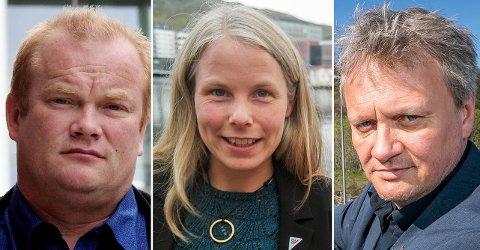 FORHANDLER: Bjørn Inge Mo (Ap), Kirsti Bergstø (SV) og Ivar B. Prestbakmo (Sp) forhandler for rødgrønt styre i Troms og Finnmark. Samtidig fremmes kravene om at de allerede nå må vedta snuoperasjon for sammenslåingen.