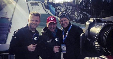 KOMMENTERER HOPP: Jonas Bergh-Johnsen (t.v.) og Alex Pointer skal kommentere hopp mens Pål Gordon Nilsen skal være reporter.FOTO: PRIVAT