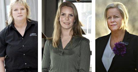 GLEDER SEG: Utelivsbransjen på Kongsberg gleder seg til 12. oktober. Fra venstre; Wenche Berntsen, katrine Kvammen Kolset og Janne Johansen.