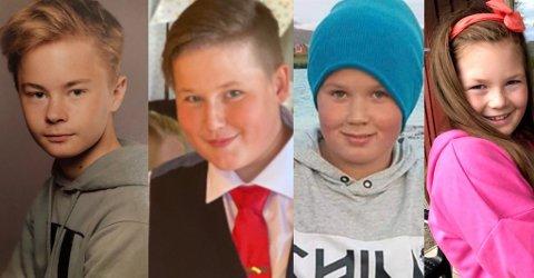 Henning Christian Bang Johansen (15 år), Mogens Pareli Krogh Hovde (15 år), Gustav Rane Krogh Hovde (12 år) ogHedda Madell Bang Winther (10 år) døde i brannen 16. januar.  Politiet har frigitt bilder av barna i samråd med de pårørende.