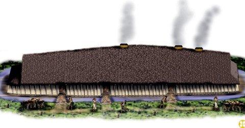 Gjenoppbygges: Langhuset var 61 meter langt og trolig en høvdinghall. Det er Nordens største bygg fra romertiden og lå på Missingen i Råde.