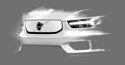 Volvo har begynt å dryppe designendringene på nye og elektriske XC40. Slik ser fronten ut.