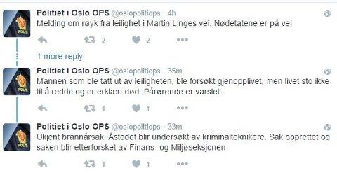 PÅRØRENDE VARSLET: Omtrent fire timer etter første melding om brannen på Bogerud meldte Politiets operasjonssentral på Twitter at mannens liv ikke sto til å redde og at pårørende er varslet. (Skjermdump fra Twitter)