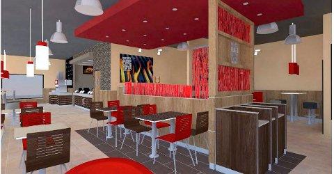 INNE: Det blir 50 sitteplasser inne i den nye restauranten. Alle skisser: Burger King Skandinavia