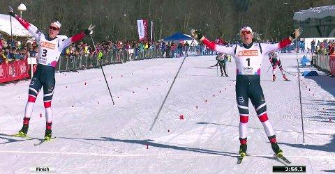 VERDENSMESTER: Erik Valnes krysser mållinja noen centimeter foran Jan Thomas Jenssen.