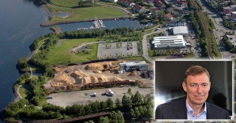 MJØSSTRANDA: Rådmann Magnus Mathisen så for seg en av Norges storste ungdomsskoler i strandkanten. Nå vil politikerne bygge to ungdomsskoler.