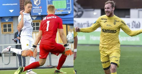 MESTSCORENDE: Elverums Jonas Enkerud (til venstre) og Raufoss-spiss Anton Henningsson er de to mest målfarlige spillerne i 2. divisjon avdeling 1. Søndag møtes de til toppoppgjør.