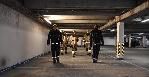 STOR KARTLEGGING: Midt-Hedmark brann- og redningsvesen vil ha oversikt over alle større parkeringskjellere. Fra venstre: Anders Øverby, Rune Bråten, Arne Lileng, Robert Paulsbyen og Johan Snartum.