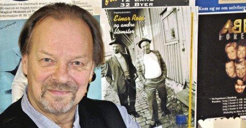 TEIE-GUTT: Geirr Johnson har bodd på Nøtterøy store deler av sitt liv. Han sier      han er ekte Teie-gutt og omtaler Nøtterøy som hjemtraktene sine. Derfor syntes han det var veldig hyggelig å få Færder kommunes kulturpris i 2018. Her sitter han foran plakatveggen i garderoben på Papirhuset. Til høyre for ham ser vi en plakat der han er sammen med Dan Robert Thorsen. FOTO: SVEN OTTO RØMCKE