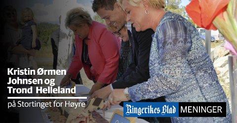 KAKE: – Oppstarten var kakespising på Sundøya i 2015, med Siv Jensen, Knut Arild Hareide, Erna Solberg og Trine Skei Grande, skriver Trond Helleland og Kristin Ørmen Johnsen.