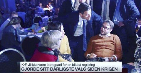 SER FRAMOVER: Jostein Rensel fra Buskerud KrF (sittende) lar ikke skuffelsen over høstens valgresultat legger en demper på stemningen. Tirsdag morgen var han med på TV2s morgensending sammen med blant andre KrF-leder Knut Arild Hareide.