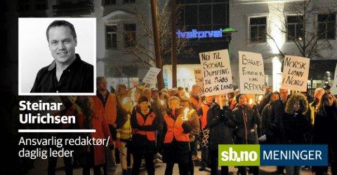 Balanse: Flagger Kiel-ferjene ut, svekkes arbeidsplassargumentet ytterligere. Hvilket farvann seiler da ferjetrafikken inn i? spør ansvarlig redaktør Steinar Ulrichsen.