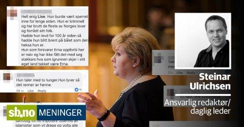 Statsminister Erna Solberg har fått mange ufine kommentarer.