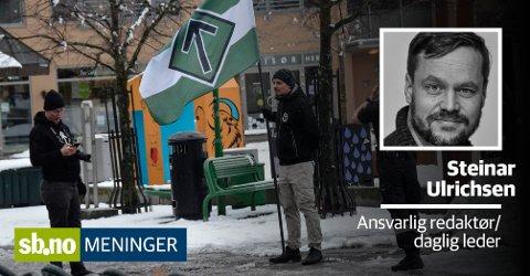 Lørdag delte den nordiske motstandsbevegelsen ut flygeblad med nazistisk innhold på Torvet.