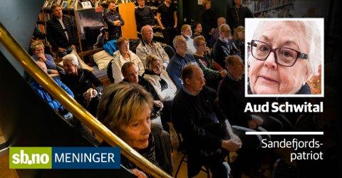 Folkemøte: Det var mange på dette møtet, men Aud Schwital kom ikke. Hva hun mener om forslaget kan du derimot lese her.