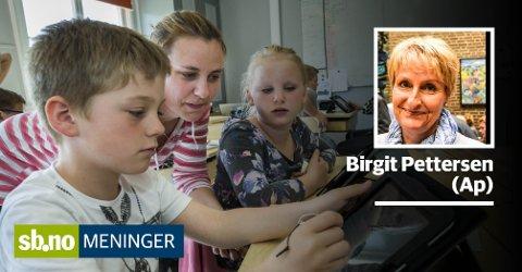 Våre kommuneansatte gjør hver dag en formidabel jobb for barna våre, dette på tross av stadig mer begrensede rammebetingelser under Høyres styre, skriver Birgit Pettersen (Ap).