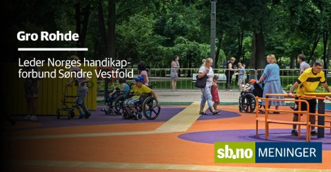 LEK: Også barn med nedsatt funksjonsevne har godt av lek og utfoldelse. Men dette bildet er altså ikke tatt i Sandefjord, men i Ukrania. Foto: Mostphotos