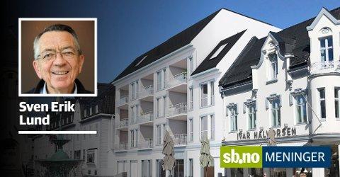 FALLER I SMAK: Nytt forslag av mai 2019 til fasadeutforming av påtenkt nybygg ved Christopher Hvidts plass.