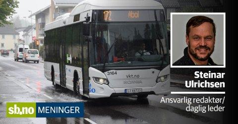 Denne bussen er like mye i internasjonalt farvann som ferja til Strømstad og burde ha like mye rett til å selge tollfrie varer.