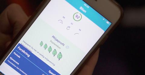 MILJØPROFIL: Appen viser også om bilføreren kjører miljøvennlig.