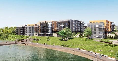 EGEN STRAND: De 150 leilighetene får en attraktiv beliggenhet helt ned mot elven. Illustrasjon: PV Arkitekter.