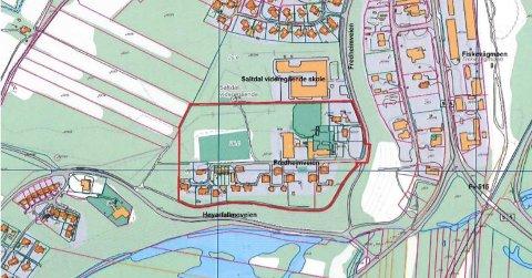 Planområdet der det kan bli lagt til rette for bygging av nye boliger.