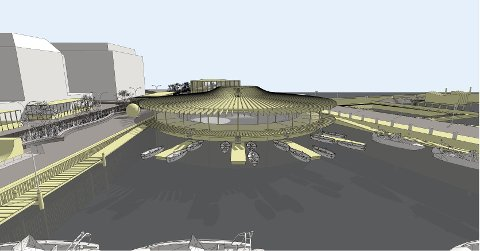 Ved Molorota foreslår gårdeierne å bygge en paviljong i glass - til for eksempel utstillinger innerst, og med havnekontor og båtutleie ytterst.