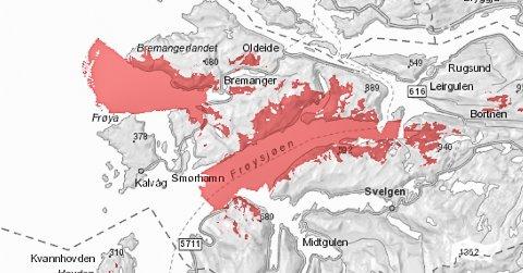Brot på sjøkabel, kartskisse frå Telenor