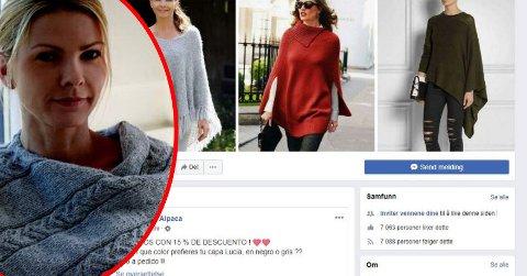 HAR FORSYNT SEG: Det angivelige peruanske netthandelfirmaet har forsynt seg grovt av Merethe Dehns (innfelt) bilder av egne produkter. Blant annet av bilder hvor designeren selv står modell for egne plagg.