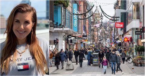 Cathrine Formoe bor midt i Stockholm, hvor hver femte koronatest nå er positiv. Likevel er det mye liv i gatene, som her i handlegaten Drottninggatan midt i sentrum. Bildet er fra tirsdag.