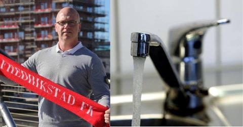 TAR FORHOLDSREGLER: Jon Erik Kristiansen er ikke spesielt lysten på å drikke eller dusje i Sarpsborg-vann. – Jeg har allerede begynt å lagre vann fra Fredrikstad, sier han.