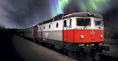 «Northern Lights Corridor»: Tornedalsrådet har nå søkt om merklevarebeskyttelse av «Northern Lights Corridor» som navn på en fremtidig jernbaneforbindelse mellom finske Kolari og Narvik. Nå jobbes det videre med å samle bred støtte i arbeidet for å realisere den nye jernbanen. Fotomontasje