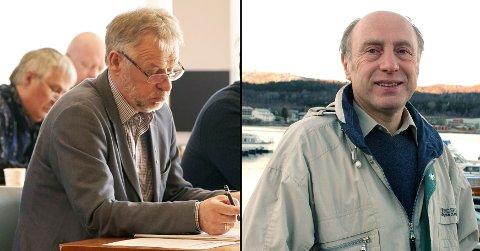 Dagens ordfører Per Kristian Arntzen til venstre. Tidligere ordfører Einar Gabrielsen til høyre.
