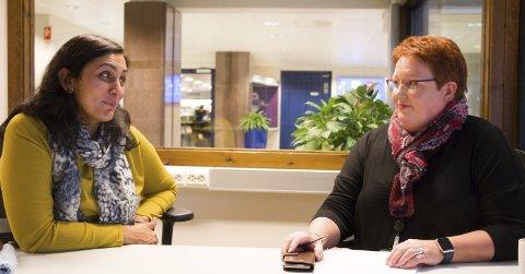 BEKYMRET: NTL-tillitsvalgte Manju Chaudry (til venstre) og Elin Såheim Bjørkli håper fredagens møte mellom SSB-direktør Christine Meyer og finansminister Siv Jensen vil gi en avklaring på usikkerheten som råder i Statistisk sentralbyrå akkurat nå.