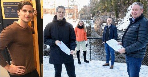 KONTRAKTEN ER SIGNERT: Martin Hegglund ved Kistefos og Geir Ole Hay i Kople har den signert kontrakt om 60 nye ladestasjoner. Simen Lokrheim fra Gran er også en del av salgsapparatet i Kople som sikret seg kjempekontrakten.