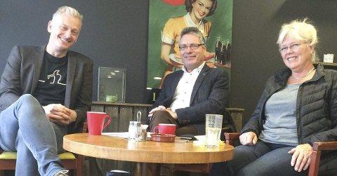 Kultursatsing:  – Kultur kan være et godt virkemiddel for næringsutvikling, mener (fra v.) hovedutvalgsleder Joakim Karlsen (V), ordfører Thor Edquist (H) og varaordfører Anne-Kari Holm (Sp).