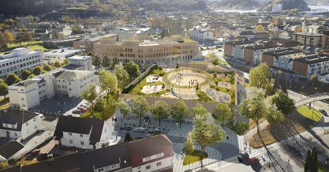 Slik ønsker arkitektene hos White Arkitekter at nye Os skole og idrettshall skal se ut.