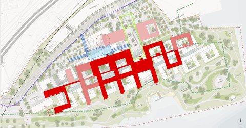 REVURDERER: Vestre Viken HF må minske Brakerøya-sykehuset. Lyserød farge angir areal som kan tidligere har vært del av tegningene.