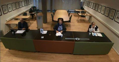 FORMANNSKAPET: At formannskapsmøtene foregår digitalt, har blitt en vane. I dag oppsummerte rådmannen koronasituasjonen for politikere og tilhørere. Fra venstre: Varaordfører Anders Næss, ordfører Kari Anne Sand og rådmann Wenche Grinderud. Assisterende rådmann Hilde Enget (bak).