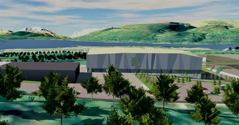 TETT: Den nye turnhallen, som ligger til venstre i bildet, kommer tett på det nye badelandet. Nå spytter fylkesrådet inn friske 4,5 millioner kroner i prosjektet.