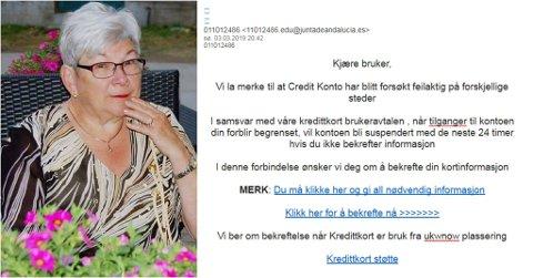 IKKE LURT: Berit Nilsen fra Kapp fikk en falsk e-post. Hun lot seg ikke lure men ønsker å advare andre.