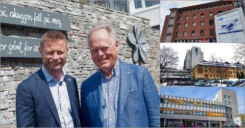 KJEMPER: Hamars varaordfører Knut Fangberget  (H), her sammen med helseminister Bent Høie i 2019, har ikke gitt opp kampen for å få hovedsykehuset til Hamar. Innfelt dagens sykehus i Gjøvik, Lillehammer og Hamar.