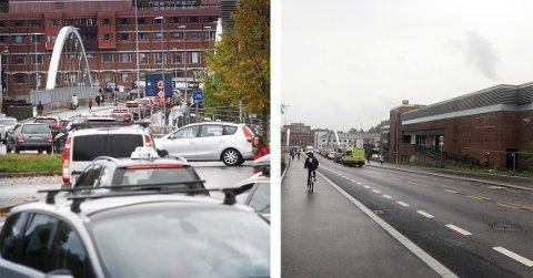 NATT OG DAG:Forskjellen på de to bildene er enorm. Bildet til venstre ble tatt i mandagsrushet og bildet til høyre i tirsdagsrushet - på samme tidspunkt, kl. 08.20.