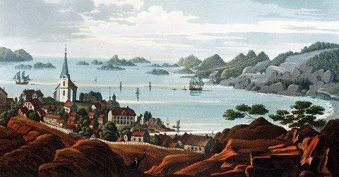 Tollerodden: Maleri av Larvik og Larviksfjorden. Malt av John W. Edy ca. 1820.