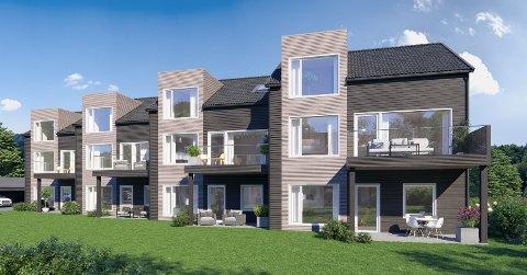 Rekker: Totalt inneholder prosjektet 24 leiligheter i rekke. Det er to forskjellige størrelser og det er lagt opp til at det skal være god plass mellom rekkene.  Illustrasjonsfoto: Dunihagen eiendom