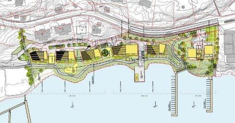 BOLIGER OG GRØNTOMRÅDE: Skisse som viser planene for Langestrand: Syv blokker på tre-syv etasjer, store grøntområder, to nye brygger og badehus på kaia. (Illustrasjon: Børve Borchsenius)