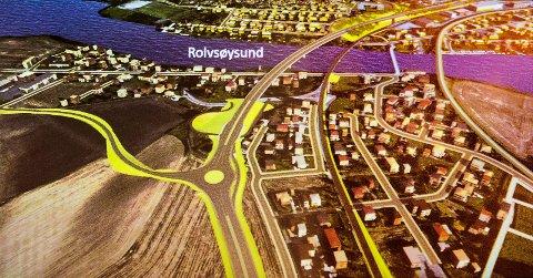FYLKESVEI 109: Denne skissen viser hvordan Statens vegvesen ser for seg hvordan fylkesvei 109 kan gå over Rolvsøysund bru. Den blir liggende til venstre for den nåværende bilbrua.