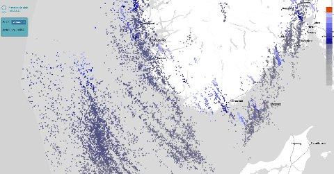 Det har vært mange tusen lynnedslag over Vestlandet det siste døgnet.