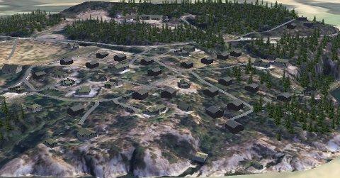 Slik kan hyttefeltet på Ådnanes se ut hvis de nye planene går gjennom. Nye hytter er vist som brune. (Illustrasjon: SK Langeland as)